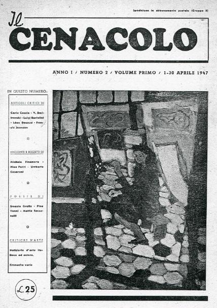 """Copertina del numero di aprile 1947 della rivista """"Il Cenacolo"""""""